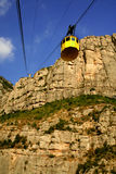 Rocks of Montserrat. The yellow cab to monastery Montserrat Stock Images