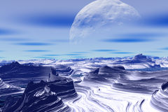 Rocks and  moon Stock Image