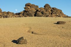 Rocks and Moon Stock Photography
