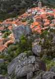 Aerial view on Monsanto village with stone in the house. Rocks, moss and doors of Monsanto village in Portugal Royalty Free Stock Image