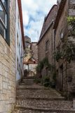 Narrow street of Monsanto vollage with rocks. Rocks, moss of Monsanto village in Portugal Stock Image
