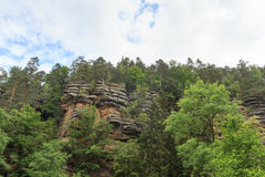 Rocks and mountains in Kirnitzsch Valley, Saxon Switzerland Royalty Free Stock Images