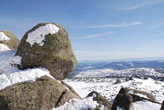 Rocks on the Mustag mountain. Near Sheregesh Stock Photo