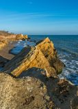 Rocks near the Black Sea coast. Near the village of Fontanka, Odessa region, Ukraine stock photos