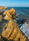 Rocks near the Black Sea coast. Near the village of Fontanka, Odessa region, Ukraine royalty free stock image