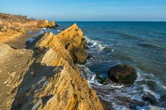 Rocks near the Black Sea coast. Near the village of Fontanka, Odessa region, Ukraine royalty free stock photography