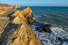Rocks near the Black Sea coast. Near the village of Fontanka, Odessa region, Ukraine stock photo