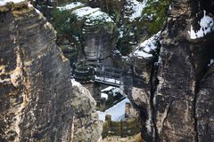 Rocks near the famous Bastei in Swiss Saxony Stock Image