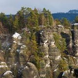 Rocks near the famous Bastei in Swiss Saxony Stock Photos