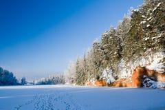 Rocks near forzen lake. Rocks covered in trees near forzen lake Stock Photography