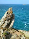 Rocks near the ocean. Brittany, France. Stock Photos