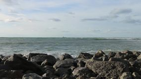 Rocks near the sea stock footage