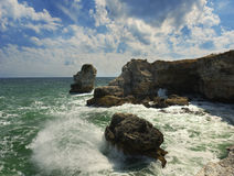 The rocks near Tyulenovo, Black sea, Bulgaria stock photos