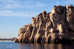 Rocks of the Nile. Within the northern section between Aswan and Khartoum, in Nubia, the River passes through formations of hard igneous rock, resulting in a Stock Photos
