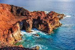 Rocks on North-west coast of Tenerife near Punto Teno Lighthouse Royalty Free Stock Photography