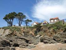 Rocks on the ocean coast. In France Royalty Free Stock Photos