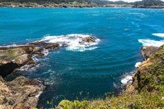 Rocks and ocean in Mendocino, California Stock Photography