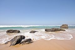 Rocks and Ocean in Portugal Stock Photography