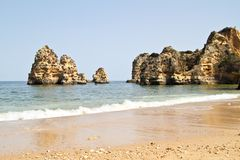 Rocks and ocean in Portugal Royalty Free Stock Photo