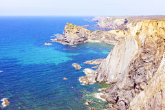 Rocks and ocean in Portugal Royalty Free Stock Photos