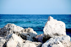 Rocks at the ocean. Rock formation at the shore line, ocean, stones Stock Image