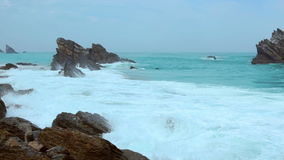 Rocks and Ocean Surf stock footage