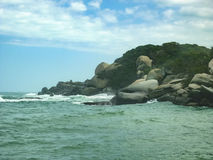 Rocks and Ocean at Tayrona Nature Park in Colombia Royalty Free Stock Images