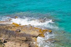 Rocks and ocean waves. Antigua, English Harbour Stock Image
