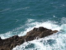 Rocks off the coast of Ajuy stock footage