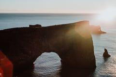 Rocks off the coast of Iceland stock photo