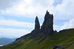 Rocks of Old Man of Storr. Jutting rocks that make up the Old Man of Storr in Scotland Royalty Free Stock Image