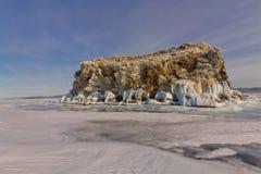 Rocks Olkhon in ice. Lake Baikal Royalty Free Stock Photos