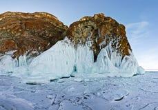 Rocks Olkhon in ice. Lake Baikal Royalty Free Stock Images