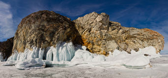 Rocks Olkhon in ice. Lake Baikal Royalty Free Stock Photography