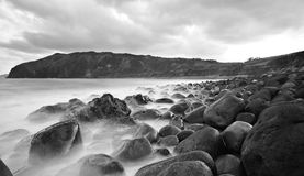 Rocks Overflowing. Seascape shot at Boulder Beach in Batanes, Philippines Royalty Free Stock Photography