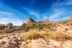 Rocks overlook Tortilla Flat Arizona Royalty Free Stock Images