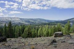Rocks overlooking Sierra valley Royalty Free Stock Photo