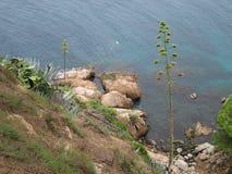 Rocks på en strand Tossa de Mar Costa Brava (Spanien) Arkivbilder