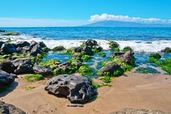 Rocks, Pacific ocean the island of Maui Royalty Free Stock Photos