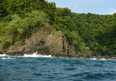 Rocks in panama with tropical plants and trees Stock Photos