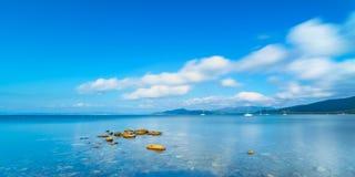 Rocks in a panoramic sea bay. Punta Ala, Tuscany, Italy Stock Images