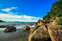 Rocks panoramic tropical beach with coconut palm. Koh Samui, Stock Image