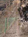 Rocks pathway with fence in the mountain Royalty Free Stock Image
