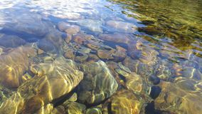 Rocks pebble in water. Freshwater reflection Royalty Free Stock Photos