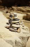 Rocks piles. A pile of rocks stacked on the beach Royalty Free Stock Image
