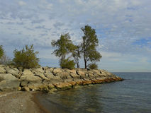 Rocks with Pine Trees on Lake Ontario, Canada Royalty Free Stock Images