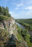 Rocks and pines of the Urals Stock Photo
