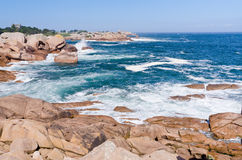 Rocks on Pink Granite Coast in France Stock Photos