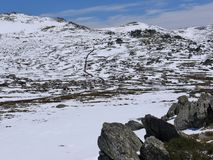 Rocks on a plain in the Snowy mountains Royalty Free Stock Photos