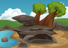 Rocks with pond scene vector Royalty Free Stock Images